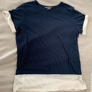 Vince Navy Tee with Cream Color Block